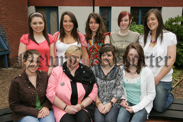 Our Lady's G.S. Principal Ms Geraldine Pettigrew is pictured with, Sheena Best, Nuala Boyle, Ashley Donnan, Kylie Donnelly, Sheena Gribben, Naoimh Hughes, Aisleen Keenan and Eimear Kenneddy who recieved 4 A Grades at A-Level. Picture Peter Clarke. 07W34N24