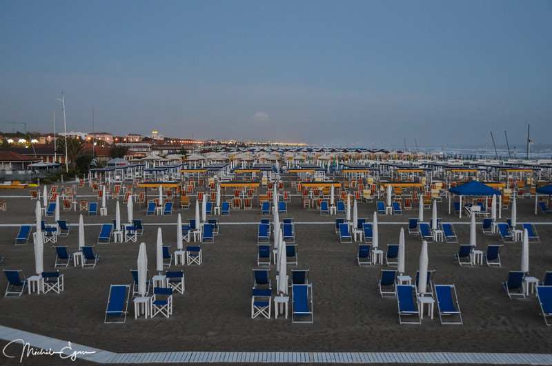 The beach at Pietrasanta Mare is ready for vacationers.