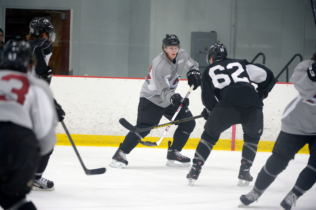 . Colorado Avalanche Nathan MacKinnon (29) skates during his second day at rookie Camp practice September 9, 2013 at Family Sports Ice Arena. (Photo By John Leyba/The Denver Post)