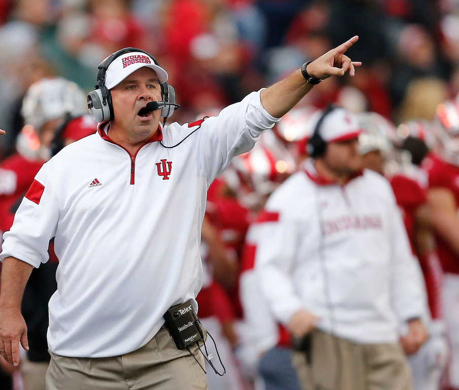 . Indiana head coach Kevin Wilson calls a play during an NCAA college football game in Bloomington, Ind., Saturday, Oct. 18, 2014. Michigan State won the game 56-17. (AP Photo/Sam Riche)
