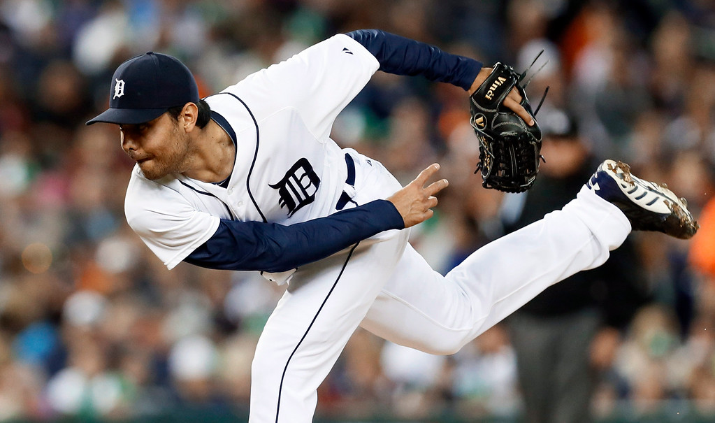 . Detroit Tigers relief pitcher Joakim Soria throws against the Minnesota Twins in the the seventh inning of a baseball game in Detroit, Thursday, Sept. 25, 2014. (AP Photo/Paul Sancya)