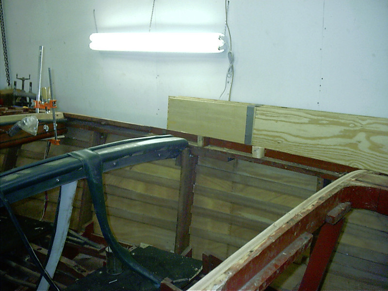 Starboard inside gunnel removed being replaced with new wood.