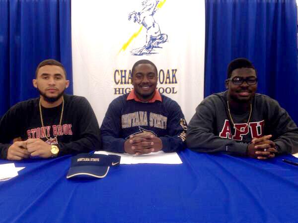 . Charter Oak football signees Donavin Washington, Eric Prevost and Khylan Brooks. (Courtesy Photo)