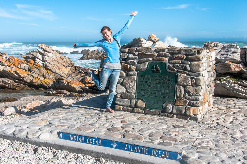 Marker in Cape Agulhas indicating division of Atlantic and Indian Ocean