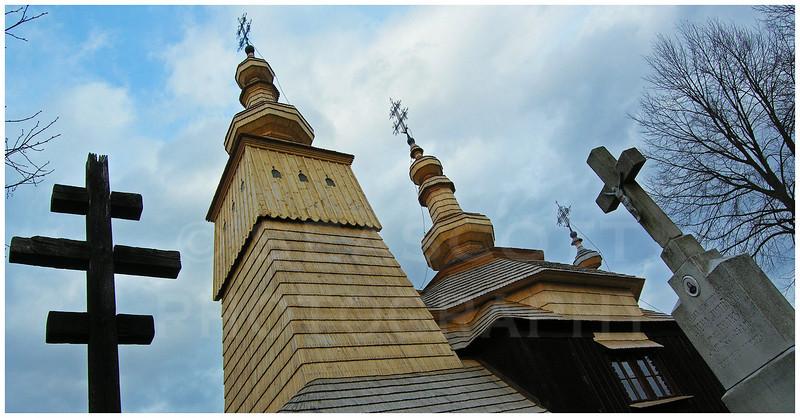 A wooden church of the Greek Catholic Ruthene minority in NE Slovakia near the Polish border.