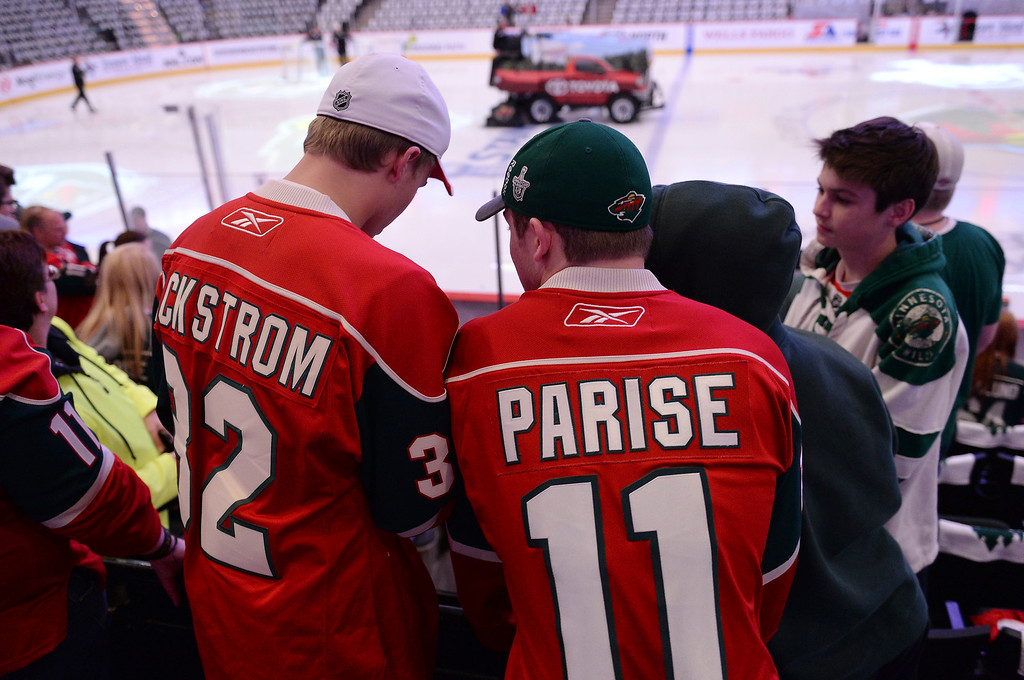 . Minnesota fans waited for the players to hit the ice Monday night. The Minnesota Wild hosted the Colorado Avalanche Monday night, April 28, 2014 at the Xcel Energy Center in St. Paul. (Photo by Karl Gehring/The Denver Post)