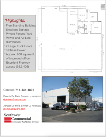 5,128 square foot Free Standing Building with private yard!