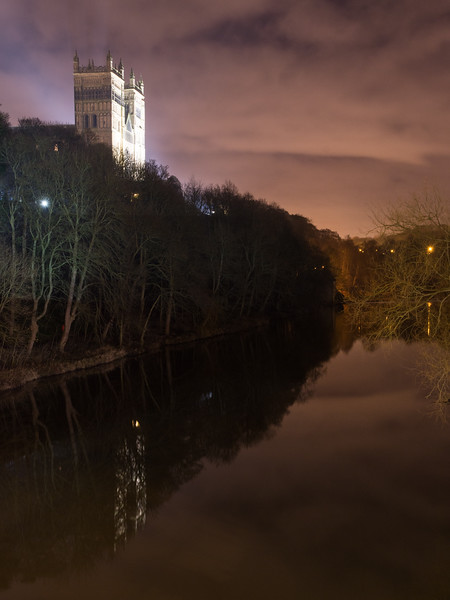 Durham Cathedral and the River Wear at night