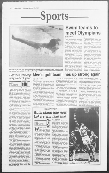 Daily Trojan, Vol. 116, No. 43, October 31, 1991