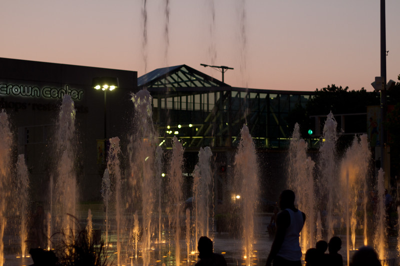 We happened to be walking by in time to see a choreographed water show