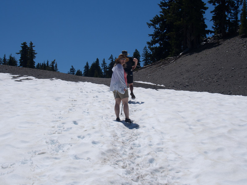 Hiking out.  I love my Vibram Fivefingers shoes, but they do not have much traction in the ice anbd snow or on gravel