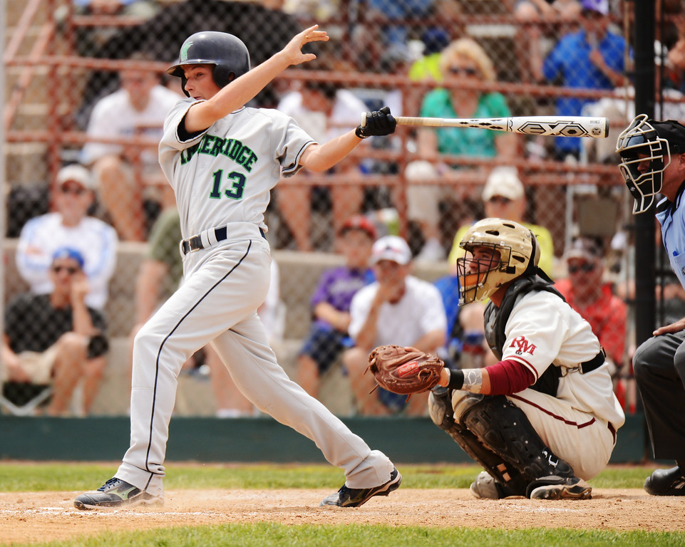 . DENVER, CO. - MAY 25: Tyler Loptien of ThunderRidge HIgh School (13) singles and scores 1 RBI in the 7th inning of 5A baseball state championship game against Rocky Mountain HIgh School at All City Field. Denver, Colorado. May 25, 2013. ThunderRidge won 2-1. (Photo By Hyoung Chang/The Denver Post)
