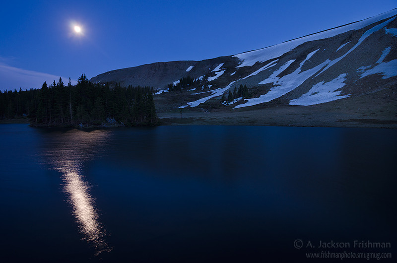 Moonrise over Horseshoe Lake, Pecos Wilderness, New Mexico, June 2012.