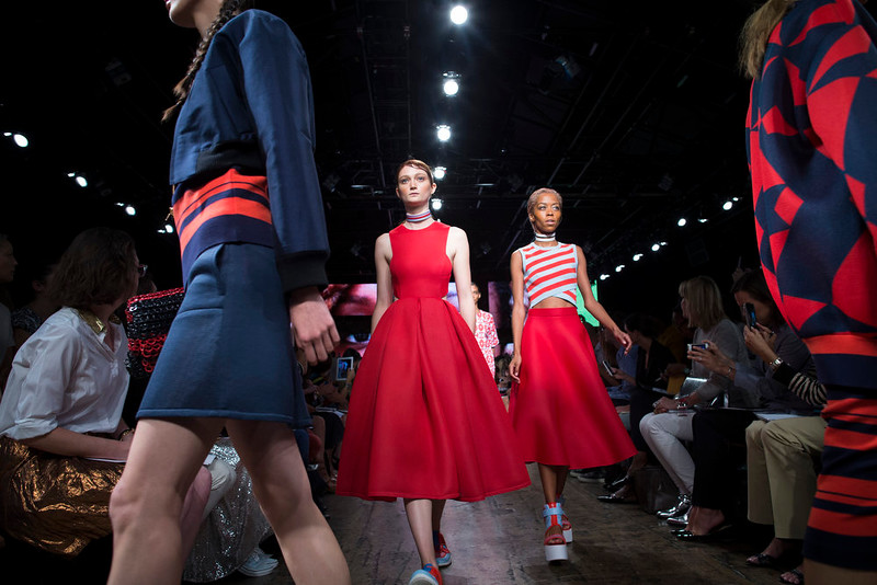 . The DKNY Spring 2015 collection is modeled during Fashion Week, Sunday, Sept. 7, 2014, in New York. (AP Photo/John Minchillo)