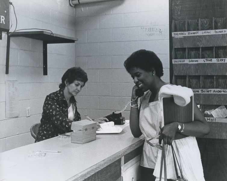 1976 - admin asst. Barbara Little & ACT director Sandy Richards.jpeg