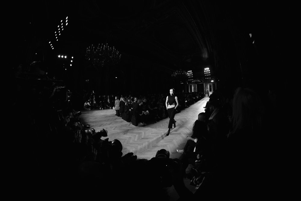 Description of . A model walks the runway during the Barbara Bui Fall/Winter 2013 Ready-to-Wear show as part of Paris Fashion Week on February 28, 2013 in Paris, France.  (Photo by Gareth Cattermole/Getty Images)