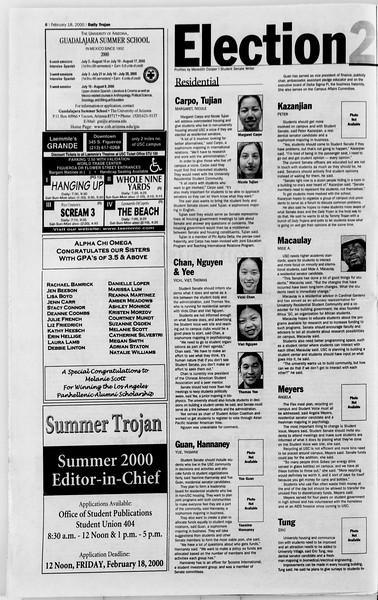 Daily Trojan, Vol. 139, No. 27, February 18, 2000