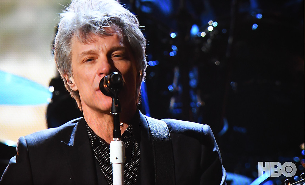 . Eric Bonzar�The Morning Journal<br> Jon Bon Jovi performs during the 33rd Rock and Roll Hall of Fame induction ceremony held at Cleveland\'s Public Auditorium, April 14, 2018.