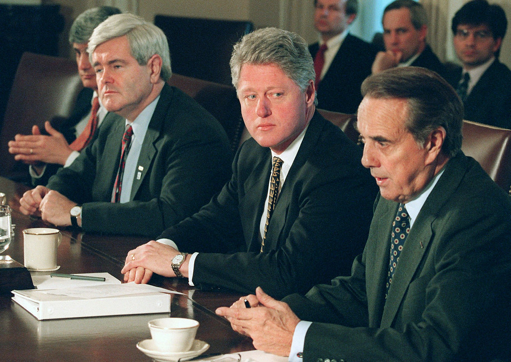 . President Clinton meets with Republican congressional leaders at the White House Friday Dec. 29, 1995 to discuss the federal budget impasse. From left to right are Treasury Secreatry Robert Rubin, House Speaker Newt Gingrich, Clinton and Senate Majority Leader Bob Dole of Kansas. (AP Photo/Wilfredo Lee)