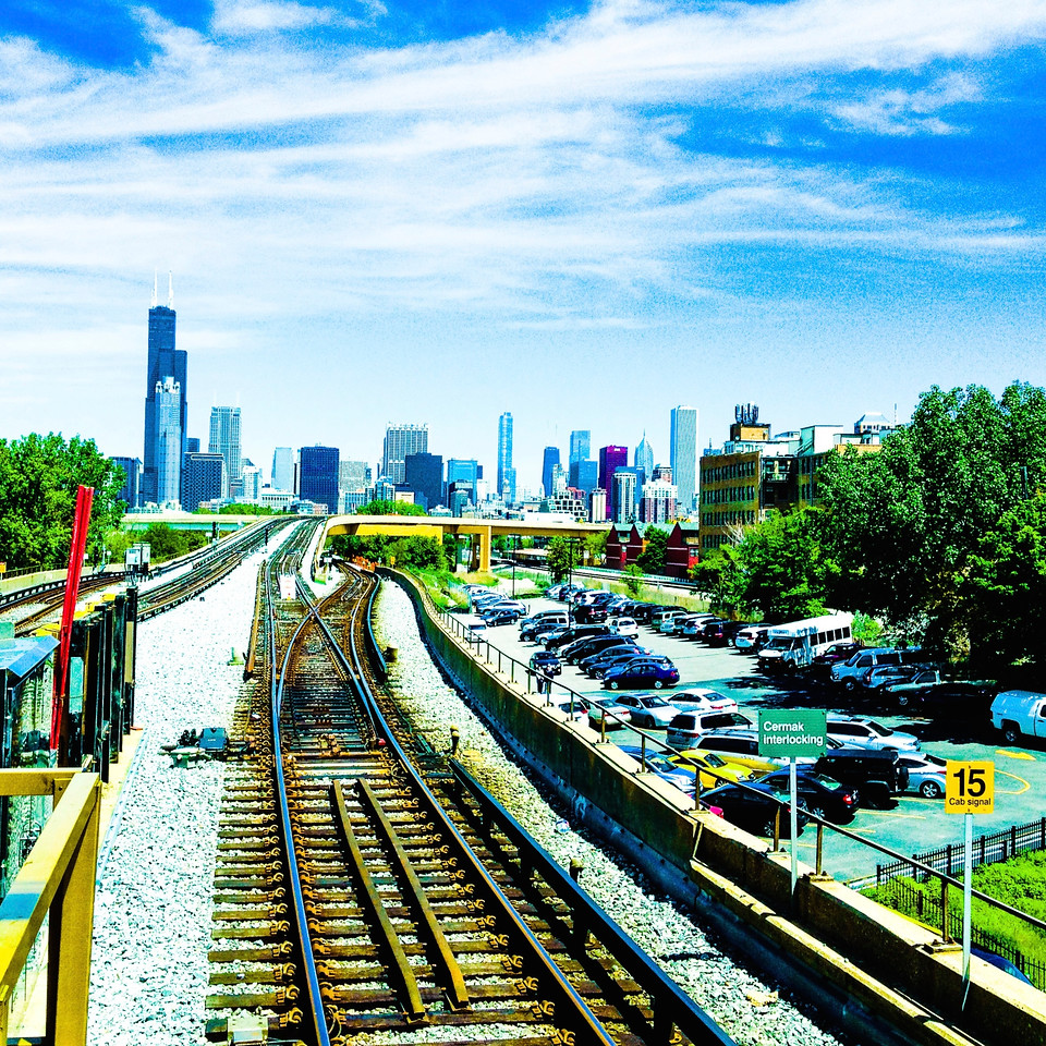 Downtown Chicago viewed from Cermak Red Line station