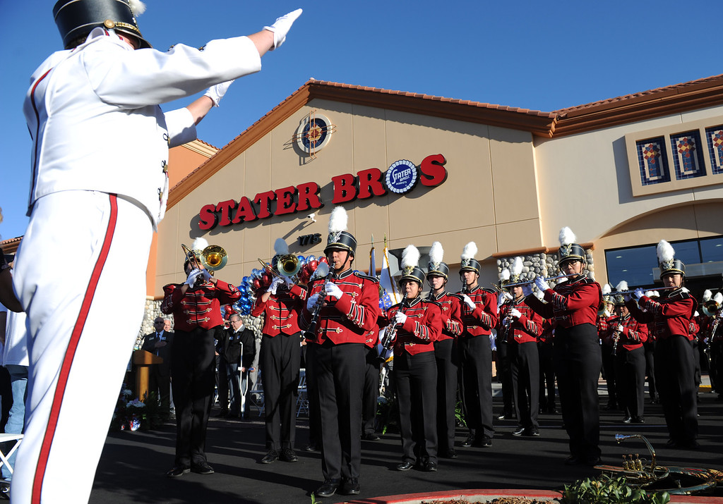 . (John Valenzuela/Staff Photographer) Redlands East Valley Marching Band plays the National Anthem during the grand opening of Stater Bros. in Redlands, Wednesday, September 25, 2013. The new store replaces the one directly across the street, offering more amenities and services, including a bakery, seafood counter and wider aisles.