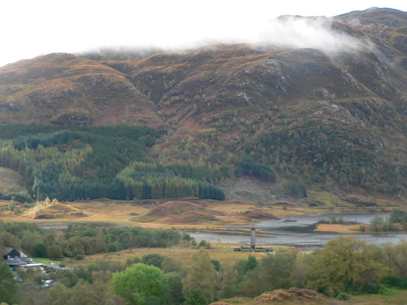 Loch Sheil and the Glenfinnan Monument marking the fact that Bonnie Prince Charlie raised his standard here.