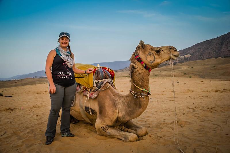Lina Stock with Camel in Pushkar, India