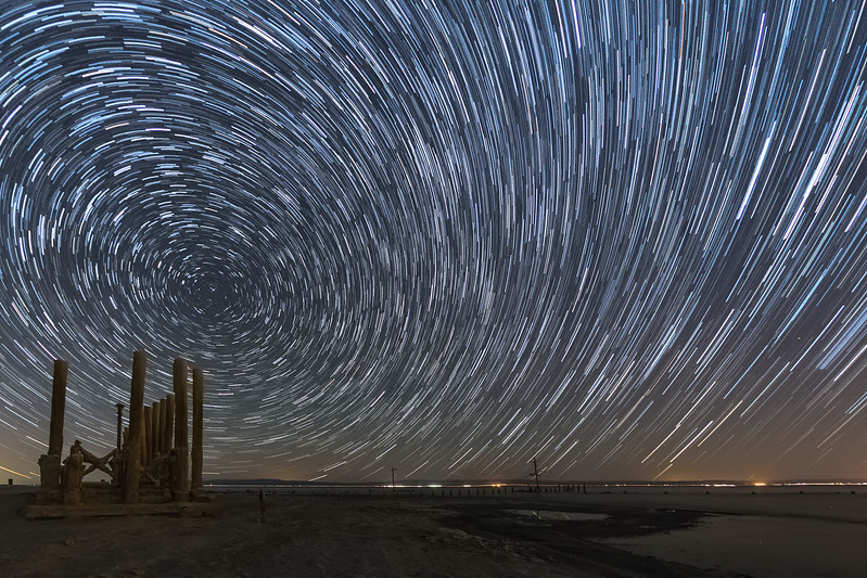 Star Trails Over an Abandoned Pier at the Salton Sea