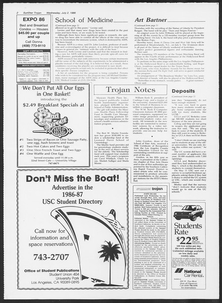 Summer Trojan, Vol. 101, No. 7, July 02, 1986