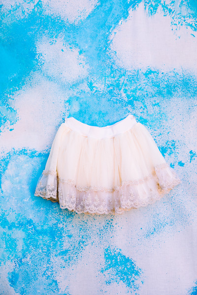 Ivory and Gold Tulle Skirt