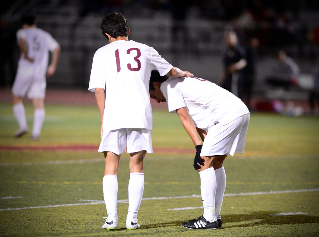 . Arcadia walks away as they are defeated 2-0 by Anaheim during the quarterfinals at Arcadia High School Thursday, February 27, 2014. (Photo by Sarah Reingewirtz/Pasadena Star-News)
