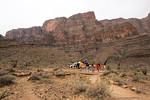 Landung im Grand Canyon, Indianergebiet. Kurzer Fußmarsch in Richtung der Boote, die uns auf den Colorado River bringen
