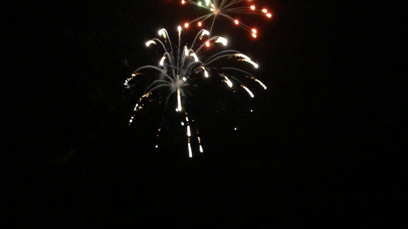 Lake Gregory fireworks finale, view from our deck.