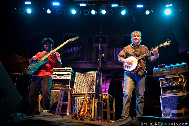 Victor Wooten and Bèla Fleck of Bèla Fleck & The Flecktones perform at Jannus Live in St. Petersburg, FL on October 20, 2011