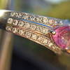 2.18ct Radiant Cut Diamond and Pink sapphire 3-Stone Ring by DBL GIA W-X, VS2 10