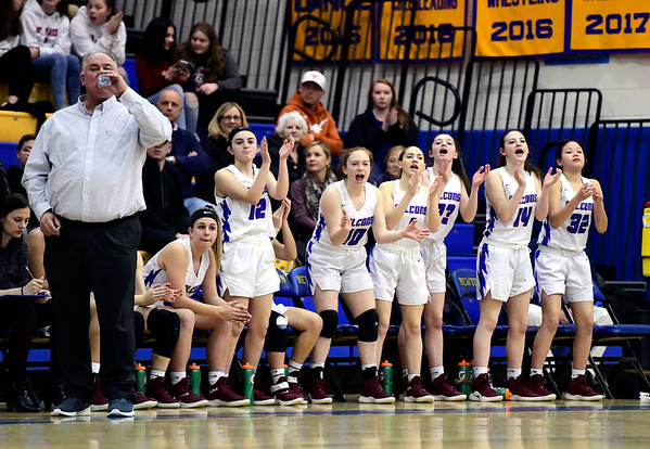 3/8/2019 Mike Orazzi   Staff St. Paul Catholic High School girls during the Class S Semifinal girls basketball game with Trinity Catholic at Newtown High School Friday night in Newtown.