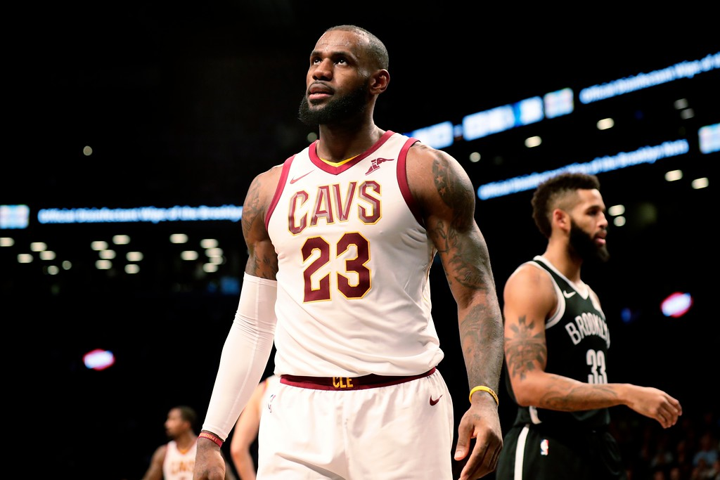 . Cleveland Cavaliers\' LeBron James (23) reacts during the second half of an NBA basketball game against the Brooklyn Nets Wednesday, Oct. 25, 2017, in New York. The Nets won 112-107. (AP Photo/Frank Franklin II)