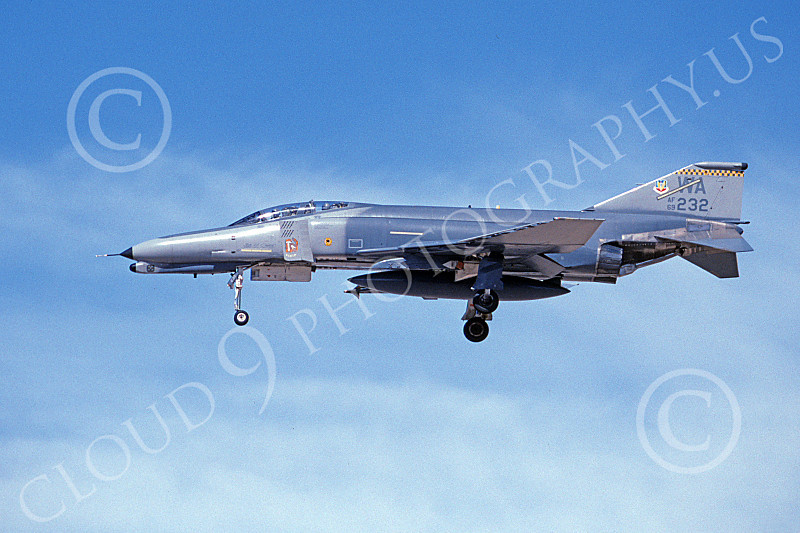 F-4USAF 00498 A landing McDonnell Douglas F-4G Phantom II USAF 69232 with mission marks 57th W WA code 3-1996 military airplane picture by Michael Grove, Sr..JPG
