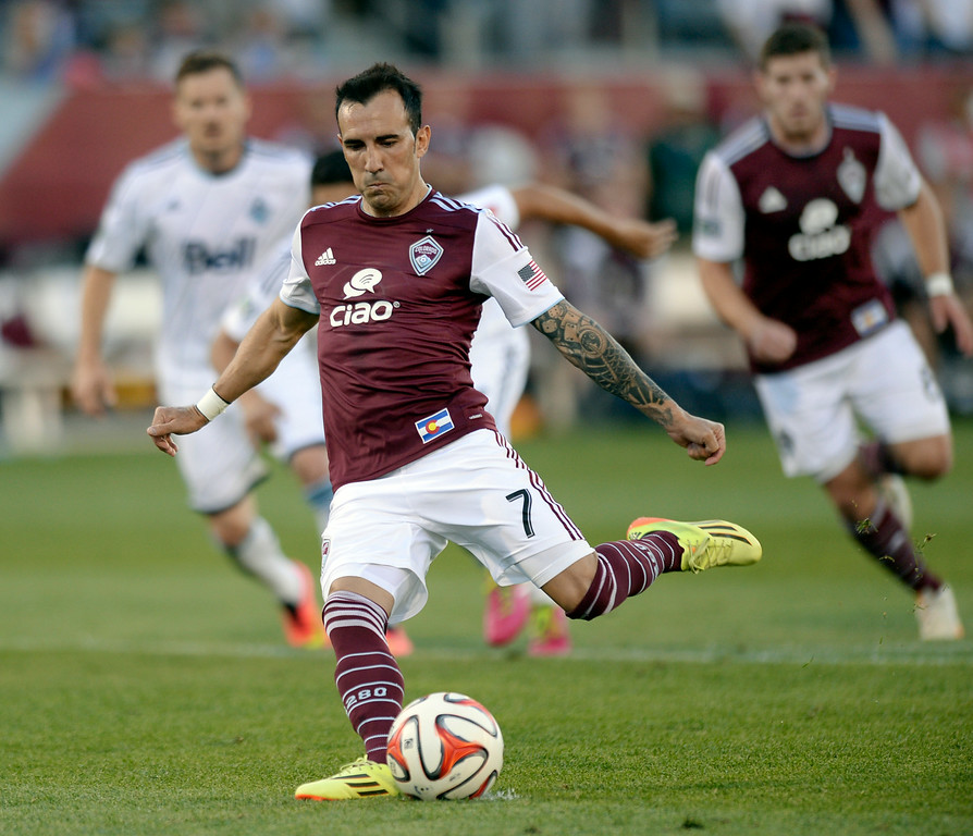 . COMMERCE CITY, CO - JUNE 28: Colorado forward Vicente Sanchez converted a penalty kick into the Rapids second goal in the first half. The Colorado Rapids hosted the Vancouver Whitecaps at Dick\'s Sporting Goods Park Saturday night, June 28, 2014.  Photo by Karl Gehring/The Denver Post