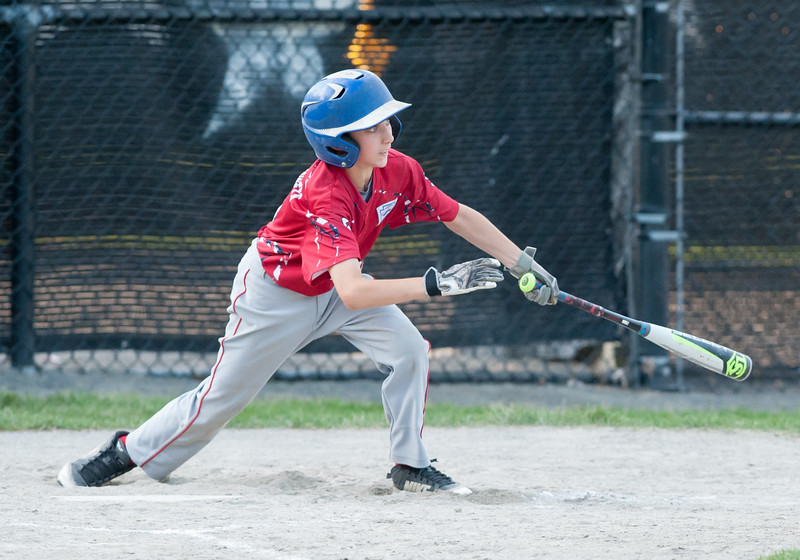 07/10/18  Wesley Bunnell | Staff  Aiden Cooney makes contact in the top of the 5th inning. Berlin 12U baseball was eliminated by Yalesville 2-0 on Tuesday evening at Bill Petit Complex.