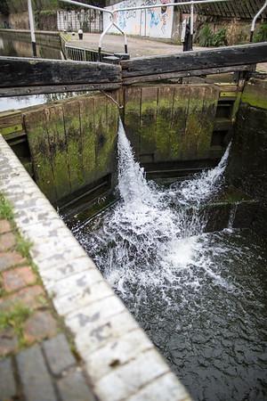 Lock on Hertford Canal, Hackney Wick, E9, London, United Kingdom