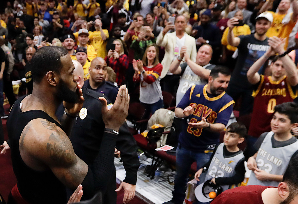 . Cleveland Cavaliers\' LeBron James blows kisses as he walks off the floor after a 128-93 victory over the Toronto Raptors in Game 4 of an NBA basketball second-round playoff series, Monday, May 7, 2018, in Cleveland. (AP Photo/Tony Dejak)
