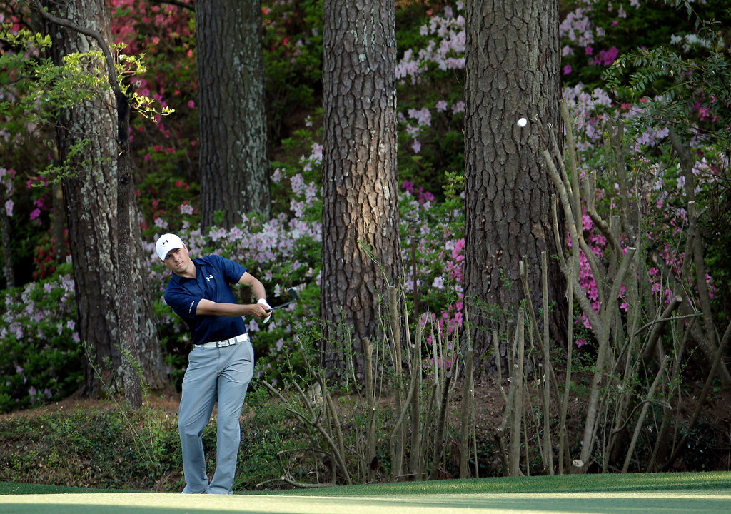 . Jordan Spieth hits to the 13th green during the third round of the Masters golf tournament Saturday, April 12, 2014, in Augusta, Ga. (AP Photo/Charlie Riedel)