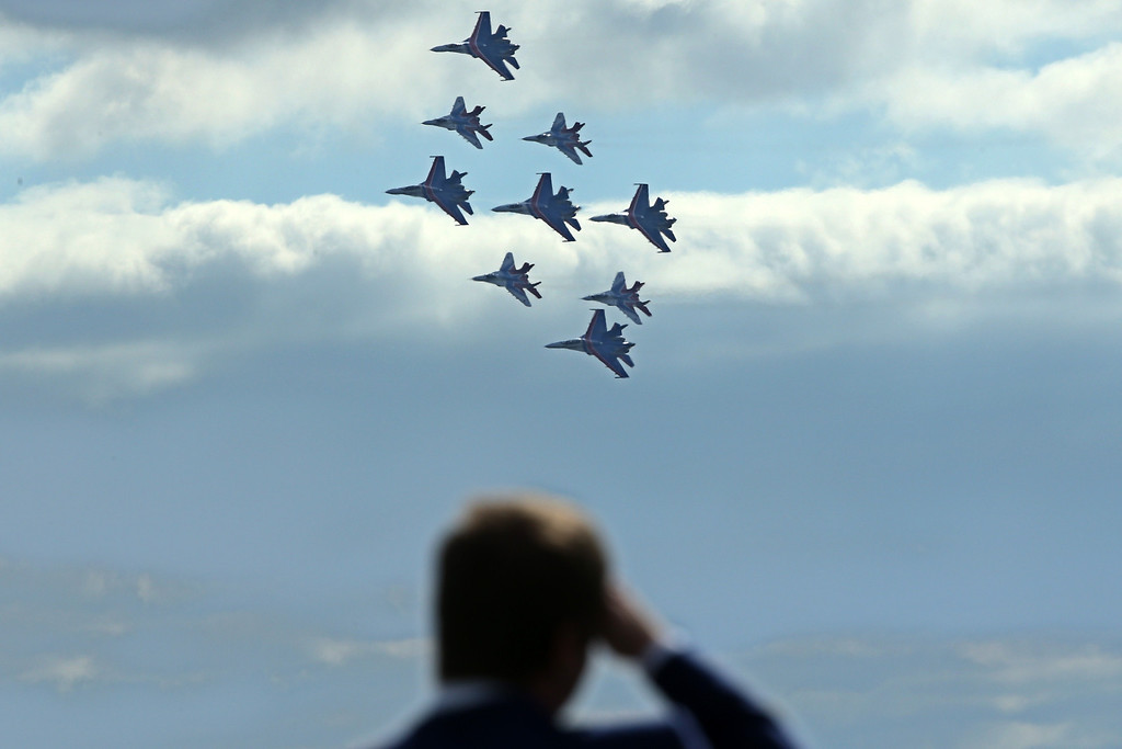 . A mixed flight group of Strizhi and Russkie Vityazi (Russian knights) perform during the MAKS-2013, the International Aviation and Space Show, in Zhukovsky, outside Moscow, on August 27, 2013. AFP PHOTO/KIRILL  KUDRYAVTSEV/AFP/Getty Images
