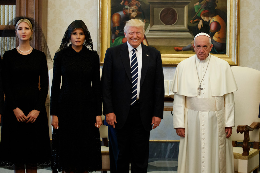 . Ivanka Trump, first lady Melania Trump, and President Donald Trump stand with Pope Francis during a meeting, Wednesday, May 24, 2017, at the Vatican. (AP Photo/Evan Vucci)