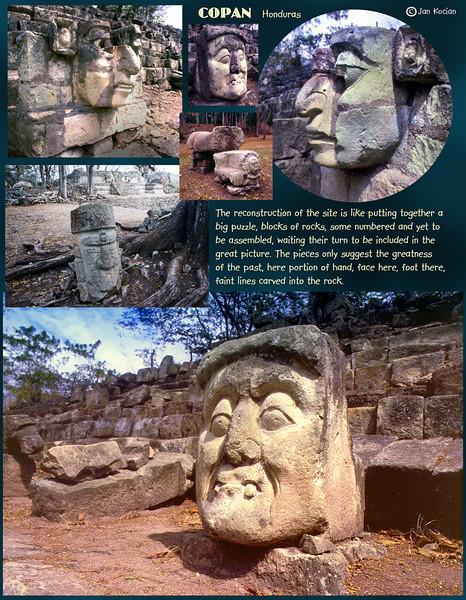 Heads of Copan ruins, Honduras. February 27, 1987