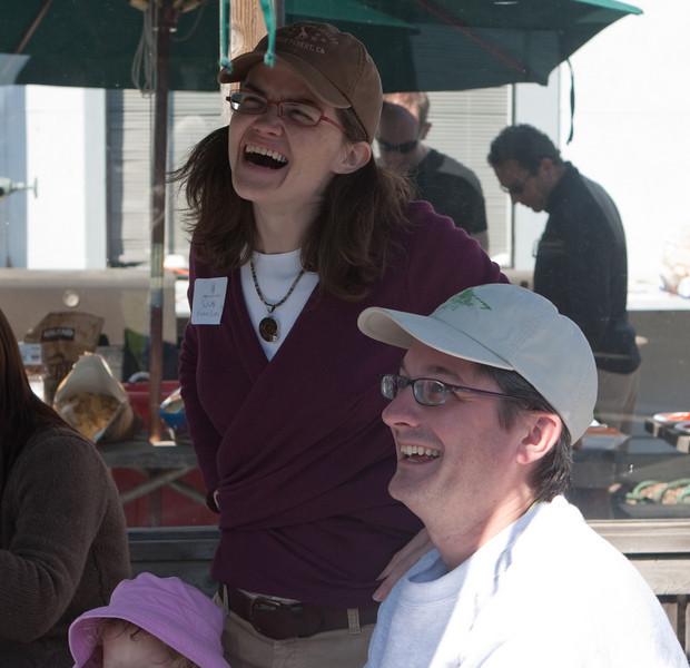 Susan and Dan enjoy the kite making