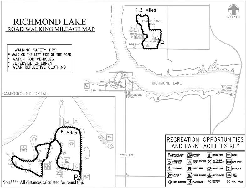 Richmond Lake Recreation Area (Road Walking Map)