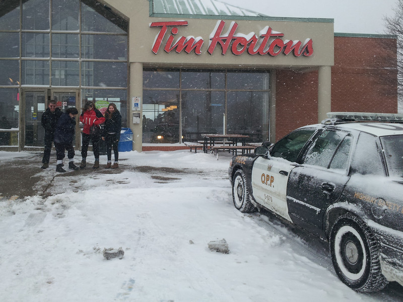 We headed out for Niagara Falls but weather became increasingly blizzard like.  There were many accidents and Tim's was filled with police and unhappy victims of accidents filling out accident reports.