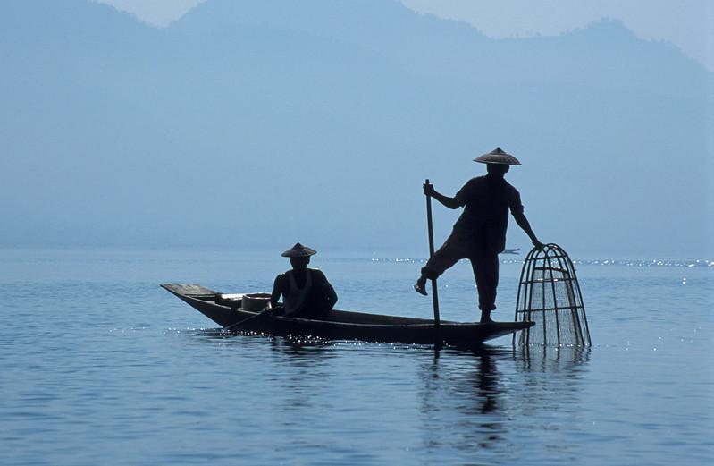 Two Intha Fishermen in Rowing Boat on Inle Lake, Burma (Myanmar)